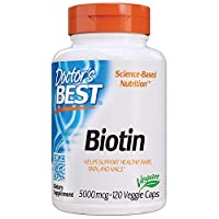 Doctor's Best Biotin 5,000 mcg, Supports Hair, Skin, Nails, Boost Energy, Nervous System, Non-GMO, Vegan, Gluten Free, 120 VC