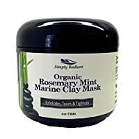 Organic Rosemary Mint Marine Aztec Clay Face Mask. Draws Toxins, Hydrates, Rejuvenates for Healthy, Youthful Complexion- 2 Oz