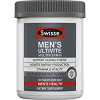 Swisse Premium Ultivite Daily Multivitamin for Men | Energy & Stress Support, Rich in Antioxidant & Minerals | Vitamin A, Vitamin C, Vitamin D, Biotin, Calcium, Zinc & More | 120 Count Tablets