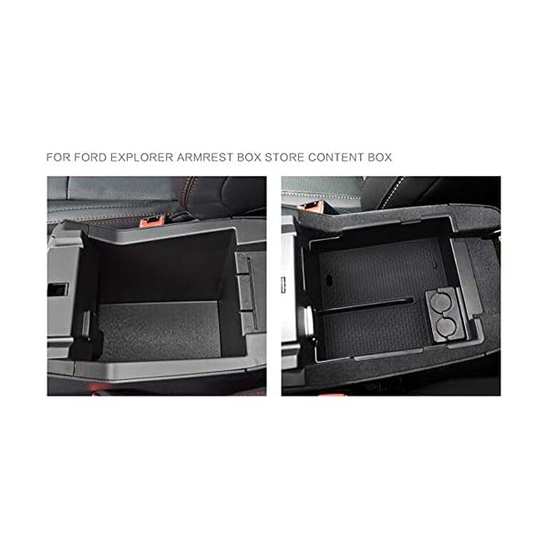 Salusy Car Center Console Armrest Box Glove Box Secondary Storage Compatible with Ford Explorer 2012-2019