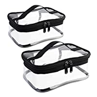Wobe 2 Pack Portable Clear Makeup Bag Zipper Waterproof Cosmetics Bag Transparent Travel Storage Carry Pouch PVC Zippered Toiletry Bag Organizers With Handle for Vacation Travel, Bathroom