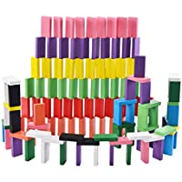 NUOBESTY 240pcs Wooden Domino Set Blocks Racing Game Building Stacking Early Educational Toys Gift for Adults Children