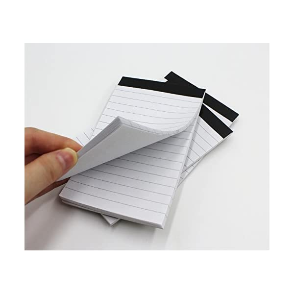 A7 Size 30 Sheets White Paper Narrow Ruled Memo Scratch Pads and Pen Deluxe Pu Leather Pocket Memo Book Note Pads Holder Jotter Organizer Business Writing Pad Flip Note Cover with 8 Digit Calculator