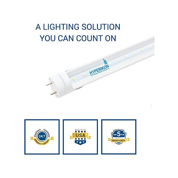 Pack of 4 Inc Warehouse Clear 4000K Hyperikon T8 T10 T12 2ft LED Bulbs 8W Shatterproof Dual-End Powered 1150 Lumens 25W Equiv. Fluorescent Replacement Tube Shop Light for Kitchen 822000602 Garage