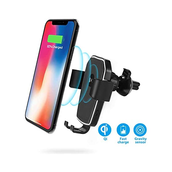 Enhanced Clips Car Charger Included RP-SH013 RAVPower Qi Wireless Car Fast Charger 7.5W // 10 W Phone Holder Car Vent Electric Lock Release Compatible with iPhone Xs Max XR X 8 7 Plus Galaxy S9 S8 Note 9 8