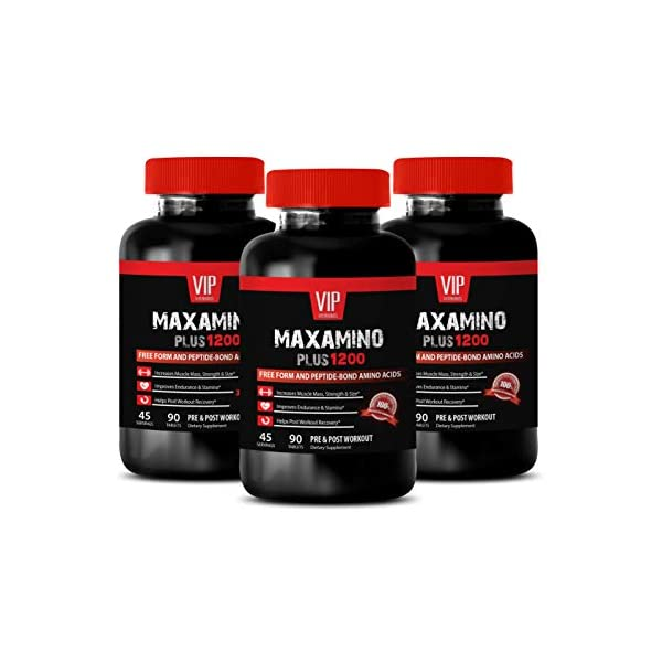 Muscle Growth Men - MAXAMINO Plus 1200 for Men - Free Form and PEPTIDE Bond Amino ACIDS - PRE and Post Workout - 8 Amino acids - 3 Bottles (270 Tablets)
