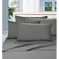 Elegant Comfort 1500 Thread Count Microfiber 4 Peice Bed Sheet Set, Wrinkle-Free and Fade Resistant Queen, Gray