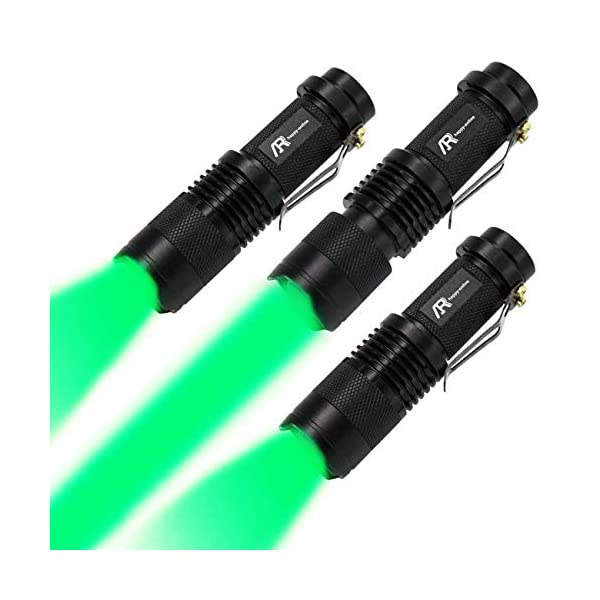 AR happy online 3 Pack AR-200 Zoomable 3 Modes Red Light Mini LED Flashlight Tactical Torch with Clip Black Shell, Red Light 300 Lumens Adjustable Focus Light