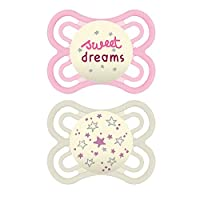 MAM Perfect Night Pacifiers, Glow in the Dark Pacifiers (2 pack) MAM Pacifiers 0-6 Months, Best Pacifier for Breastfed Babies, Baby Girl Pacifier, Designs May Vary