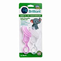 Brilliant Baby's 1st Toothbrush Teether - Premium Silicone First Toothbrush for Babies and Toddlers - Kids Love Them, Pink/Clear, 2 Count
