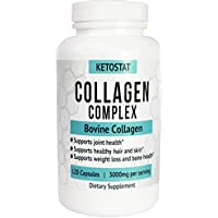 Collagen Pills 120ct 3,000mg Collagen Peptide Capsules   Type I and III Hydrolyzed Collagen Capsules Of High Quality Collagen For Joint And Bone Health, Healthier Hair & Skin, And Weight Loss Support.