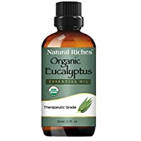 Natural Riches USDA Organic Certified Eucalyptus Essential Oil –Helps Relief Sinus Colds Allergy Symptoms Pure Premium Quality Therapeutic for Diffuser/Humidifier Aromatherapy -30ml