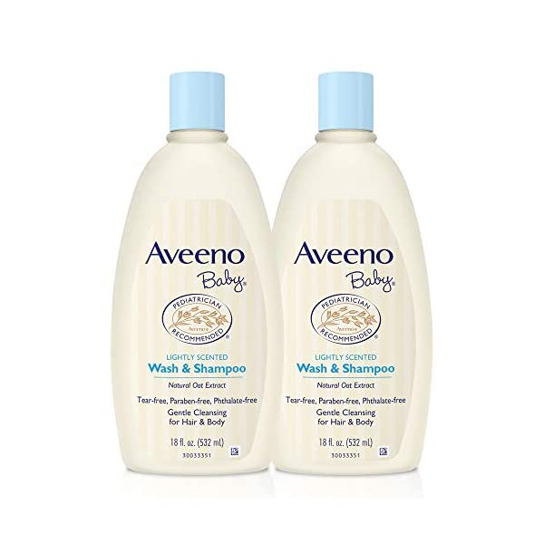 Aveeno Baby Gentle Wash & Shampoo with Natural Oat Extract, Tear-Free, 18 fl. oz, Twin Pack