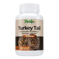 Premium Organic Turkey Tail Mushroom Capsules by Parker Naturals Supports Immune System Health. Nature's Original Superfood. 240 Capsules …
