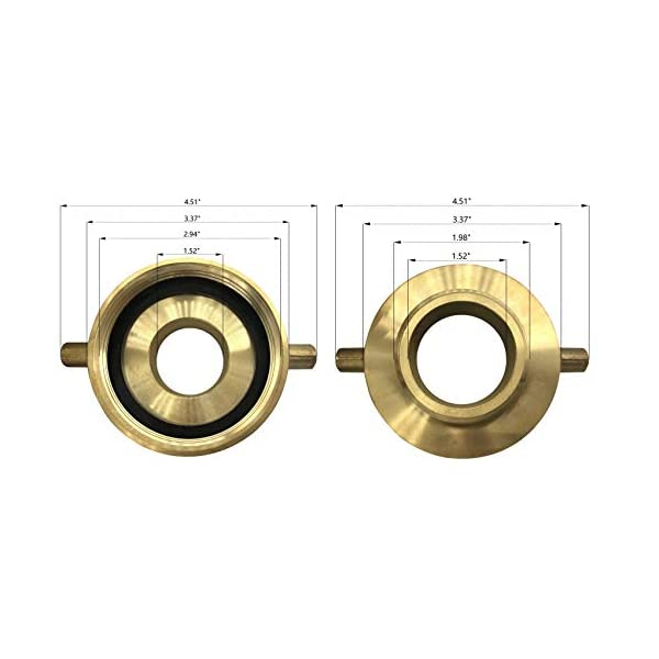 Male BHA2515 Female x 1-1//2 NST NH Happy Tree Brass Fire Hydrant Adapter with Pin Lug Brass Fire Equipment 2-1//2 NST NH