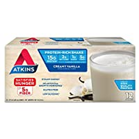 Atkins Creamy Vanilla Protein-Rich Shake. With High-Quality Protein. Keto-Friendly and Gluten Free. (12 Shakes)
