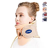 LEAMAI Standard Cervical Neck Traction Device - Adjustable Neck Stretcher Collar for Home Traction Spine Alignment -(C02,Beige)