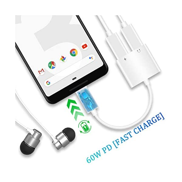 Full Digital Hi-Fi 96 kHz //24-bit White MaGeek for iPad Pro//Google Pixel//Pixel 2//3//Samsung S10 S9//OnePlus and More Type C to 3.5mm Headphone Audio Adapter USB-C to Earphone Aux Adapter 2-Pack