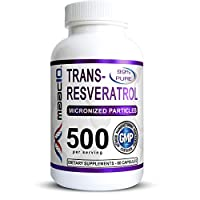 MAAC10 - Trans Resveratrol 500mg Supplement (Micronized Pharmaceutical Grade 99% Pure Trans-Resveratrol Extract + BioPerine for Superior Absorption) (2X 250mg Capsules 60ct)