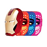 IRON MAN LED Mask, 3 Color Photon Light Skin Rejuvenation Therapy Facial Home Skin Care Mask, FACE FACTORY