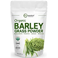 Sustainably US Grown, Organic Barley Grass Powder, 8 Ounce, Rich in Fibers, Minerals, Antioxidants, Chlorophyll and Protein, Support Immune System and Digestion Function, Vegan Friendly