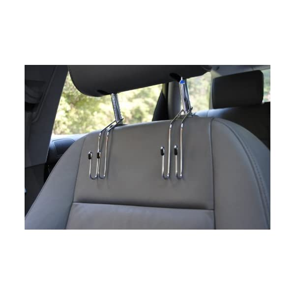 Purses and Car Storage Maxsa 20057 Metal Headrest Hanger 2 Hooks for Bags 2-Pack Chrome