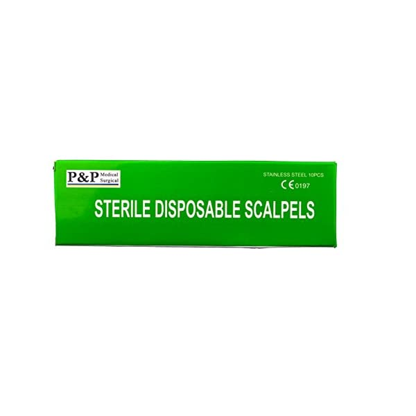 Stainless Steel Blade Box of 10 Disposable Sterile Scalpels Size #15 with Gratuated Plastic Handle /& Metric Line Individually Foil Wrapped