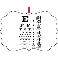 Rosie Parker Inc. #1 Optician-Eyesight Chart-TM Double-Sided Benelux Aluminum Holiday Hanging Tree Ornament. Made in The USA!