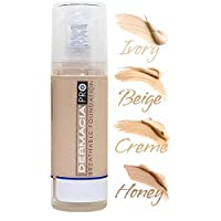 Dermacia PRO Breathable Foundation (Honey), Dr. Recommended, Hypoallergenic, Long Lasting, Lightweight, Professional Oxygenating Makeup, Best for Sensitive Skin, Acne & Rosacea, Made in USA