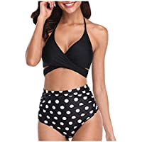 〓COOlCCI〓Womens Bathing Suits Floral Printing Swim Bottoms Padded Halter Bandage Bikini Two Piece Swimsuits