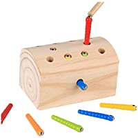 ErYao Wooden Magnetic Toddler Toy Game Set, Catch Worms Magnetic Toys,Fine Motor Skill Preschool Toys, Educational Color Cognition Coordination Exercise Learning Toy, Age 2 and up