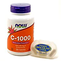 Bundle – 2 Items : 1 Bottle of Vitamin C-1000 by Now Foods 100 Capsules and 1 VDC Pill Box