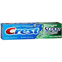 Crest Extra White Plus Scope Outlast Toothpaste, Long Lasting Mint 4 oz (Pack of 12)