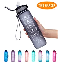 Giotto 32oz/22oz Leakproof BPA Free Drinking Water Bottle with Time Marker & Straw to Ensure You Drink Enough Water Throughout The Day for Fitness and Outdoor Enthusiasts