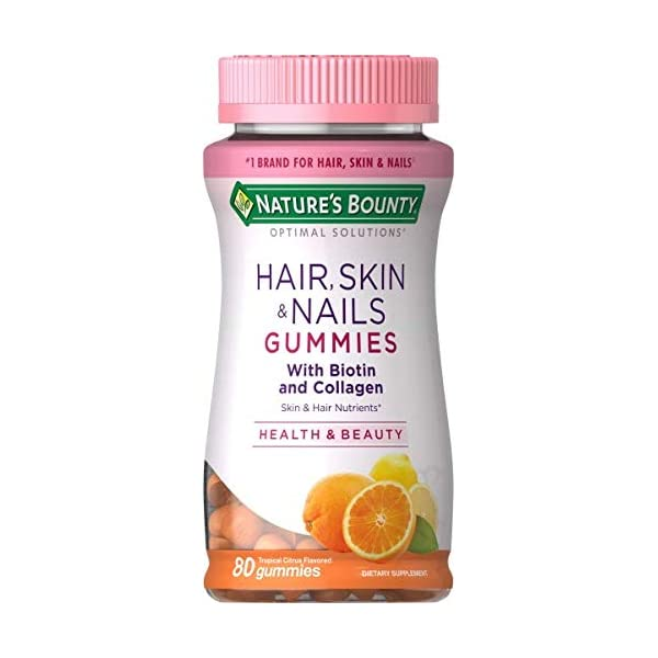Hair Skin and Nails Vitamins with Biotin and Collagen by Nature's Bounty Optimal Solutions, w/ Vitamin C for Immune Support, Hair Skin and Nails Gummies - Orange Citrus Flavored, 80 Gummies