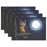YUEND 1PC Table Mats Halloween Owl On Tree Moon for Dinning Table Navy Heat Durable Resistant Placemats Kitchen Home Non Slip