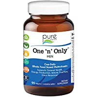 Pure Essence One N Only Multivitamin for Men - Whole Food One a Day Supplement with Superfoods, Minerals, Enzymes, Vitamin D, D3, B12, Biotin - 90 Tablets