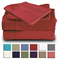 Mutlu Home Goods Queen Size -4 Piece- Burgundy Bed Sheet Set Double Brushed Microfiber Luxury Bedding - Deep Pockets, Hypoallergenic, Fade, Wrinkle, Stain Resistant