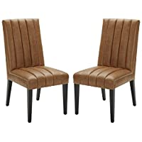 Amazon Brand – Stone & Beam Channel-Back Leather Dining Chairs, 40