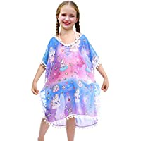 Sylfairy Unicorn Cover Up for Girls Rainbow Swimwear Coverups Swimsuit Beach Dress Top with Pompom Tassel
