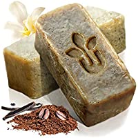 Urbanized - Handmade Natural Coffee Firming Exfoliating Soap Scrub Skin Care Gift Set - Cocoa Vanilla - Face Hand Body Bath Accessories Cleanser - For Men Women - Gentle Scent (3 Soaps 2 oz Bar Pack)