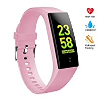 V18 Fitness TrackerforWomen,Activity Tracker Watch with Heart Rate and Sleep Monitor,Step Counter, Calorie Counter, Smart Fitness Band,Physiological Reminder (Pink)