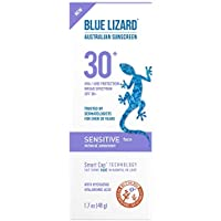 Blue Lizard Sensitive Face Mineral Sunscreen – No Chemical Actives – SPF 30+ UVA/UVB Protection, 1.7 oz