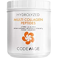 Codeage Multi Collagen Protein Powder Peptides, 2-Month Supply, Hydrolyzed, Type I, II, III, V, X Grass Fed All in One Super Bone Broth Collagen Supplement, Non-GMO, 20 Ounces