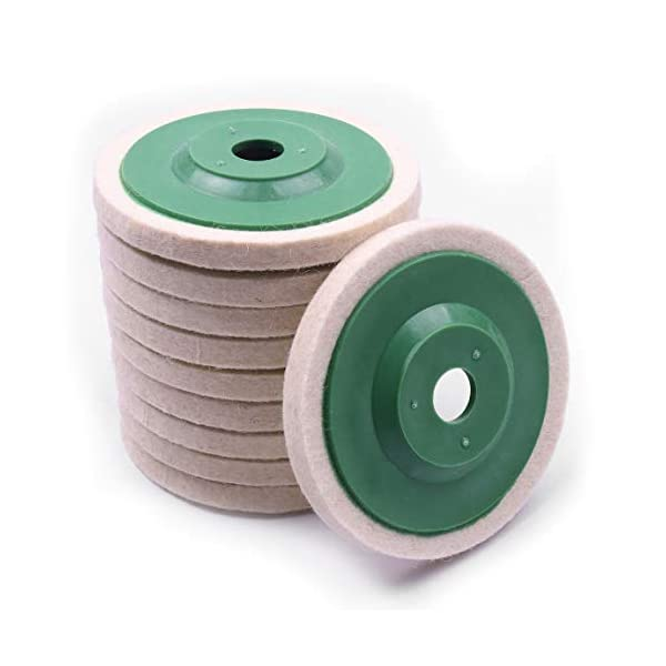 Keadic 21-Piece Roloc Style 2 Compressed Wool Fabric QC Disc Polishing Buffing Pads Wheels Kit Including 2 Roloc Disc Pad Holder with 1//4 Shank Great for Cleaning Polishing Projects