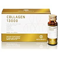 Collagen 13000 by Hexa Beauty, Set of 10 Mini Vial Bottles 50ml Each – Made in Japan Dietary Supplement Drink Contains Potent 13000mg of Collagen to Support Healthy Hair, Skin & Nails