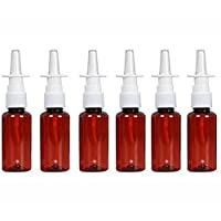 12Pcs Empty Amber Plastic Fine Mist Sprayers Atomizers Nasal Spray Bottle For Saline Water Injection Makeup Water Perfume Storage Container size 30ml/1oz