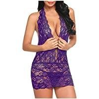 Lingerie for Women, Womens  Lace Teddy Sexy Deep V Halter One Piece Bodysuit Babydoll