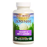 Host Defense, Lion's Mane Capsules, Promotes Mental Clarity, Focus and Memory, Daily Mushroom Supplement, Vegan, Organic, 120 Capsules (60 Servings)