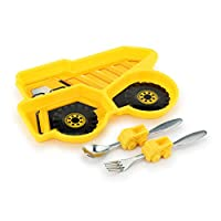 KidsFunwares Dump Truck Me Time Meal Set, Portion Control Divided Plate with Fork and Spoon for Kids